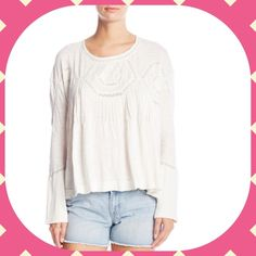NWT Free People Top Size S New Hope Babydoll Top.  Ivory.  60%Cotton 40%Rayon. Back cut out.  Asymmetrical Hem.  Lace Trim. Free People Tops