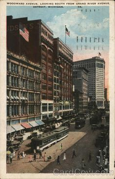 Woodward Avenue, Looking South from Grand River Avenue Detroit, MI Postcard