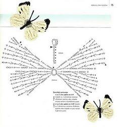 Elementos da fauna e flora em crochet (borboletas, libélulas)