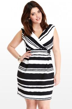 Plus Size Crossover Too Broken Stripe Dress With Elastic Waist | Fashion To Figure
