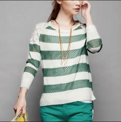 Women's Knit Sweater with Lace 2013 spring / summer fashion