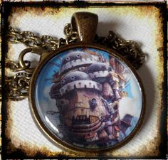 HOWL'S Moving CASTLE . Glass Pendant Necklace . The Castle . GHIBLI . GirlGameGeek