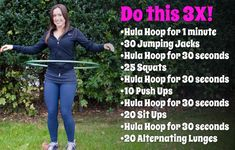 A fun workout that will help tone glutes, abs, thighs, legs, and hips. Fitness Diet, Fitness Motivation, Health Fitness, Keep Fit, Stay Fit, Fun Workouts, At Home Workouts, Hula Hoop Workout, Hula Hoop Exercise