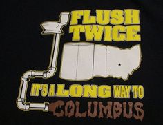 """Just listed in our eBay store...funny """"trash talk"""" t-shirt for Michigan Wolverines.  Click photo for details....  University of Michigan U of M Large T-Shirt Trash Talk Funny Humor Flush Twice  #FruitoftheLoom #ShortSleeve #Michigan #UofM #Wolverines #Ohio #hateohiostate #blue #gold #maizeandblue #flush #toilet #humor #funny #shirt #t-shirt #slogan"""