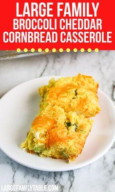 Large Family Broccoli Cheddar Cornbread Casserole Dinner Casserole Recipes, Cornbread Casserole, Cornbread Mix, Dinner Recipes, Large Family Meals, Good Food, Yummy Food, Broccoli Cheddar, Broccoli Recipes