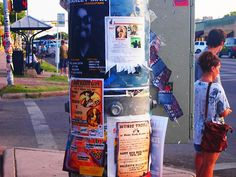 Posters on street poles