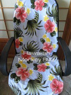 "$34.95 - Bark Cloth 2PC - ""LIGHT BLUE - PLUMERIAS"" Hawaiian Car Seat Covers!"