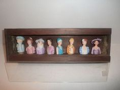 VINTAGE 80s Avon AMERICAN FASHION SILHOUETTE Porcelain THIMBLE COLLECTION SET