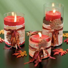 We did these in Nov Very easy and fun. We have su… Leaf Candle Wraps. We did these in Nov Very easy and fun. We have supplies on hand. Fall Crafts, Holiday Crafts, Diy Crafts, Holiday Decor, Christmas Fun, Holiday Fun, Thanksgiving Centerpieces, Candle Centerpieces, Fall Candles