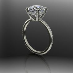 Forever Brilliant Moissanite and Diamond Covered Engagement Ring 2.73 CTW by BelViaggioDesigns on Etsy https://www.etsy.com/listing/237627707/forever-brilliant-moissanite-and-diamond
