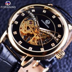 9098967e575 Mens Watch Sales - A beautifully presented Forsining 2017 Transparent  Diamond Display Golden Skeleton Mens Watch. Top Brand with Luxury looks.