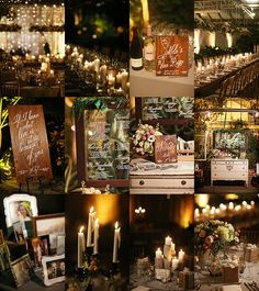 Belovely florals / hanging chandelier over head table + lots of signage
