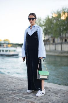 A slip dress has been in your wardrobe ammo for a while, but rather than layer it over a jersey T-shirt or long-sleeve logo top, go for a XXL-sleeved shirt for a fresh update, as seen at Paris Fashion Week