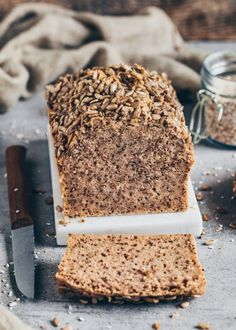 This best no-knead buckwheat chia bread recipe is gluten-free, yeast-free, egg-free, healthy, delicious and super quick and easy to make with Banana Bread Almond Flour, Gluten Free Banana Bread, Easy Banana Bread, Vegan Bread, Gluten Free Buckwheat Bread, Easy Gluten Free Desserts, Easy Bread Recipes, Banana Recipes, Dessert Simple