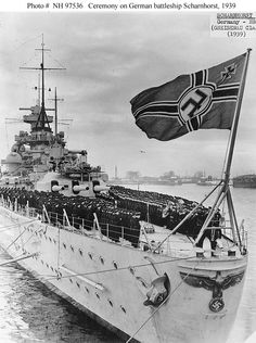 Ceremony on Scharnhorst's afterdeck, circa early 1939 [570 x 765]