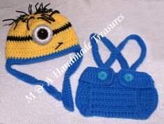 Minion Inspired Hat and Nappy Cover (with adjustable braces)  3 - 6 months  £15.00