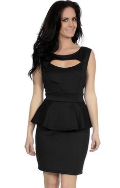 Simplicity Cocktail Dress with Hollowed-Out Neckline Stylish Peplum Dress Black