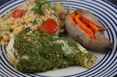 A Year of Slow Cooking: Slow Cooker Pesto Chicken and Sweet Potatoes Layered Dinner