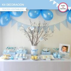 Pajarito celeste: Kit decoración - Todo Bonito Baptism Party, Baby Christening, Baby Party, Baby Shower Themes, Baby Boy Shower, Baby Shawer, Ideas Para Fiestas, Fiesta Party, Backdrops For Parties