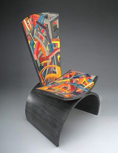 Wood, Jay Stanger, Artist, Mind Slice, 2010, sculptural chair with hand-dyed marquetry, 52 x 26 x 26 in.