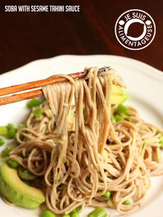 Soba Noodles with Sesame Tahini Sauce | a perfect noodle salad that's delicious hot, but especially cold.