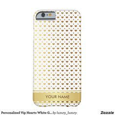 Personalized Vip Hearts White Gold Stripes Case Barely There iPhone 6 Case