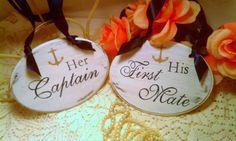 Nautical Wedding Signs Captain & First Mate Navy Blue Wedding Signs Anchor Wedding Decor