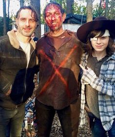 The Walking Dead: Andrew Lincoln, Kevin Patrick and Chandler Riggs (photo via TWDcast on Instagram)