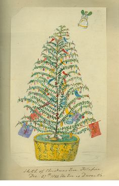 A watercolour painting of a Christmas tree with colourful decorations, 1860.    'Sketch of Christmas tree, Kolapore, Dec. 27th 1860′ by Sidney James Waudby, Indian Sketches, vol.2. Caroline Simpson Collection, Historic Houses Trust