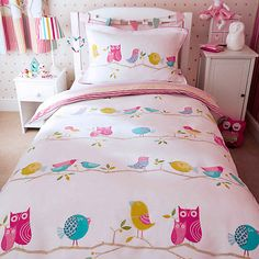 Buy Harlequin What A Hoot Owls Duvet Cover and Pillowcase Set, Double set from our Children's Bedding Sets range at John Lewis & Partners. Free Delivery on orders over Girls Bedroom Canopy, Owl Bedrooms, Girls Bedroom Sets, Small Room Bedroom, Teen Bedroom, Bedroom Ideas, Childrens Bedroom, Bedroom Stuff, Pottery Barn Teen Bedding