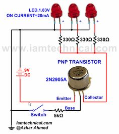 PNP Transistor With Three LED's as a Switch   IamTechnical.com