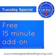 Tue special!!! Free 15 minute add-on with purchase of any regular price massage. 980-354-LMBT . . . #raleigh #nc #northcarolina #raleighnc #919 #ncstate #downtownraleigh #ncsu #shoplocal #picoftheday #happymonday #instadaily #lazy #inspiration #tuesday #tired #instagood #transformationtuesday #fitness #hillsborough #spaday #mnf #needamassage #life #body #october #morrisvillencMassage & Healthy Living 980-354-LMBT Cary NC - #regrann