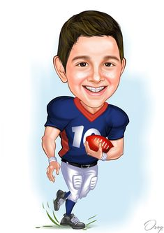 The boy is smiling and running with a football in his left hand. His outfit colors are red, blue and white. Cartoon Logo, Cartoon Design, Caricature Artist, Banner Design, Blue And White, Football, Draw, Running, Portrait