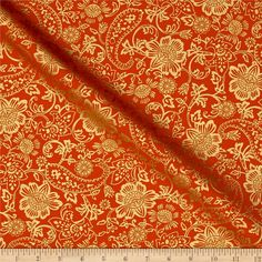 Kanvas Bohemian Rhapsody Tapestry Floral Burnt Orange from @fabricdotcom  Designed by Greta Lynn for Kanvas in association with Benartex, this cotton print is perfect for quilting, apparel and home decor accents.  Colors include orange, and metallic gold.