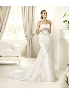 Mermaid Strapless Ruching Sweep Train Wedding Dresses WE4307
