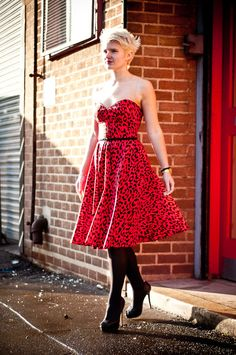 Red Leopard Print Full Circle Rockabilly Swing by styleiconscloset, £62.00