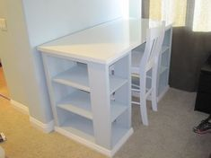Diy inexpensive craft table with storage pinterest project table modern craft table modified do it yourself home projects from ana white solutioingenieria Image collections
