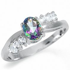 Mystic  White Topaz 925 Sterling Silver Engagement Ring Size 7 -- Visit the image link more details.