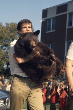 A Baylor bear mascot handler gives the cub a break from walking in the 1970 Baylor Homecoming Parade.