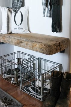This entryway minimizes the mudroom essentials - baskets and shoe storage below a bench, hooks and a shelf above. Fall Home Tour: Part Three - The Wood Grain Cottage Metal Milk Crates, Shoe Storage Solutions, Storage Ideas, Shoe Basket, Lounges, Autumn Home, Interiores Design, Mudroom, Home Organization