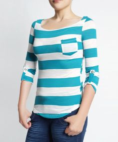 Love this White & Jade Stripe Boatneck Top by So Nice Collection on #zulily! #zulilyfinds