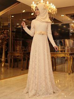 Esra Floral Evening Dress - Cream - Pinar Sems