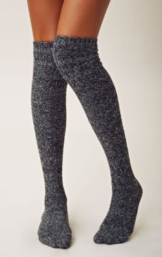 Vontage sweater thigh high socks. These look so cozy.