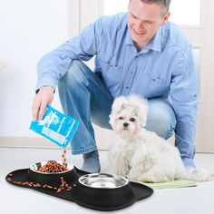 HonFei Non Spill Dog Bowls Stainless Steel Dog Cat Bowl with NonSkid Silicone Mat 2830 oz Basic Feeder/Water Bowls for Pet Set of 2 Medium ** Click photo for more information. (This is an affiliate link). Cat Bowl, Dog Feeder, Dog Treats, Dog Bowls, Dog Food Recipes, Pet Supplies, Dog Cat, Stainless Steel, Click Photo