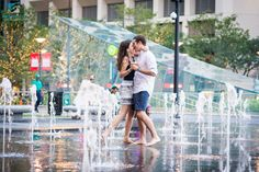 The small fountains were no match for this couple, as they still enjoyed playing around!