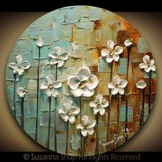 ORIGINAL Contemporary White Daisy Flowers Painting Abstract Textured Modern Art by Susanna on Etsy, $225.00