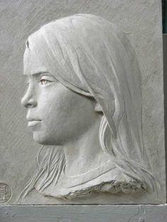 #Bronze #sculpture by #sculptor Robert Hunt titled: 'Imogen (Bronze Low/Bas Relief Girl Portrait Bust Plaques)'. #RobertHunt