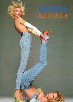 Nadja Auermann and Claudia Schiffer, shot by Richard Avedon for Versace Jeans Couture