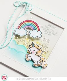 I'm back again with a card for Avery Elle featuring Be A Unicorn stamp sets. Making Greeting Cards, Greeting Cards Handmade, Kids Cards, Baby Cards, Diy Cards Thank You, Diy Crafts For Girls, Karten Diy, Shaker Cards, Animal Cards