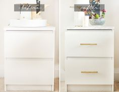 Ikea Malm End Table DIY Ikea Malm End Table DIY Get in blk and brushed copper finishes w/marble slab Ikea Malm Nightstand, Bedside Table Ikea, Ikea Bed, Marble Nightstand, Ikea Dresser Hack, Ikea Furniture Hacks, Furniture Makeover, Home Furniture, Furniture Cleaning